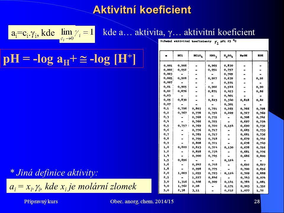 pH = -log aH+  -log [H+] Aktivitní koeficient ai=ci.i, kde